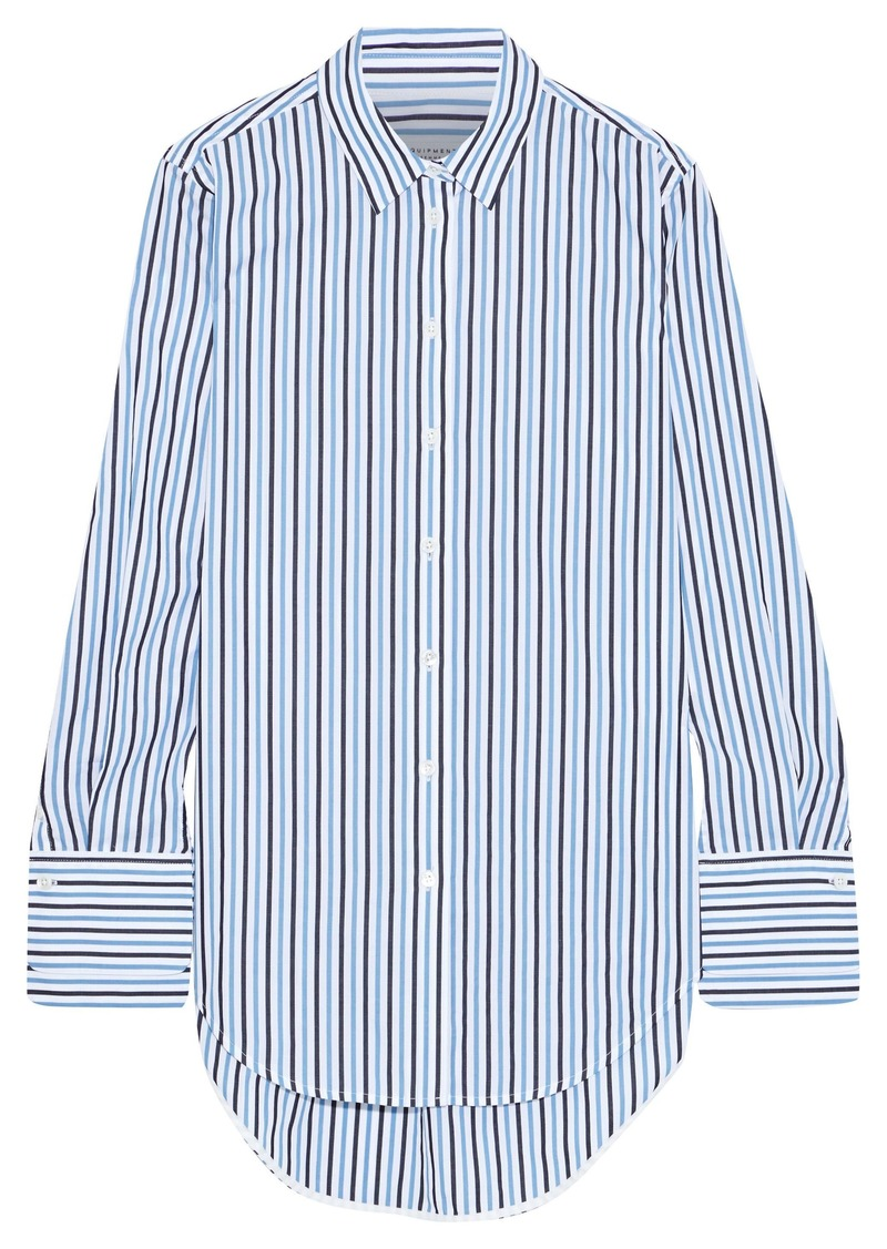 Equipment Woman Essential Striped Cotton-poplin Shirt Light Blue