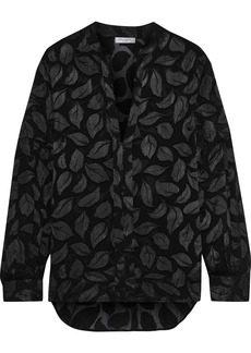 Equipment Woman Estella Fil Coupé Silk-blend Georgette Shirt Black