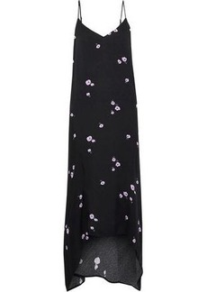 Equipment Woman Esther Floral-print Crepe De Chine Midi Slip Dress Black