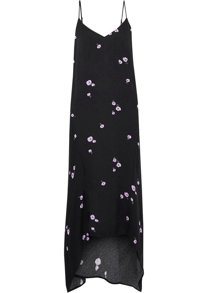 Equipment Woman Esther Floral-print Crepe De Chine Midi Slip Dress Black