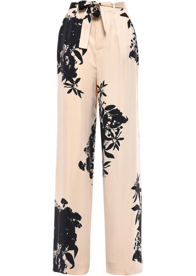 Equipment Woman Evonne Belted Floral-print Washed Silk-blend Wide-leg Pants Cream