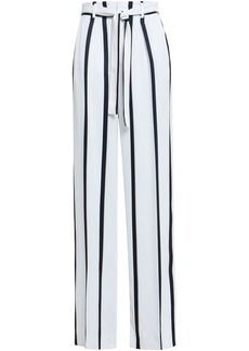 Equipment Woman Evonne Belted Striped Satin-twill Wide-leg Pants White