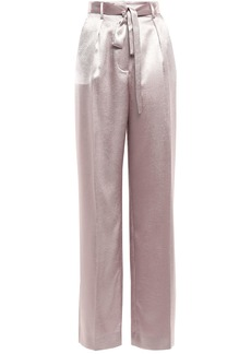 Equipment Woman Evonne Belted Washed-satin Wide-leg Pants Lilac