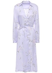 Equipment Woman Fabienne Floral-print Silk-blend Satin Shirt Dress Lilac