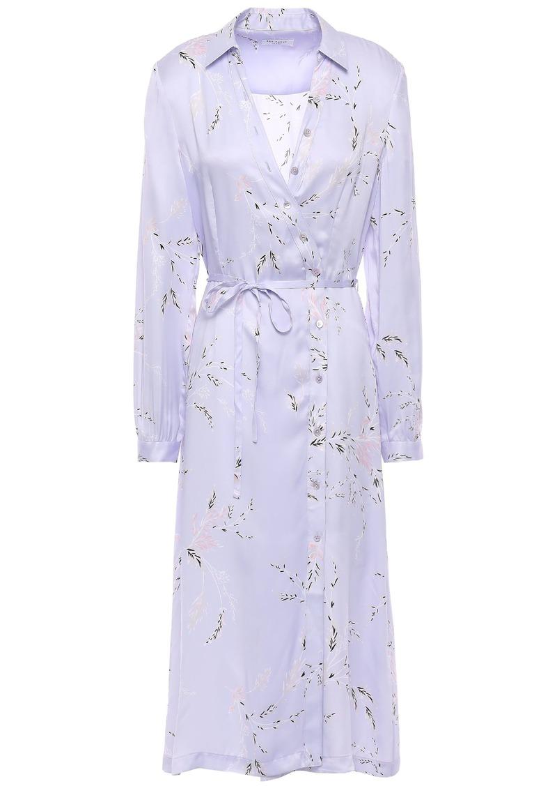 Equipment Woman Fabienne Floral-print Silk-blend Satin Shirt Dress Lilac