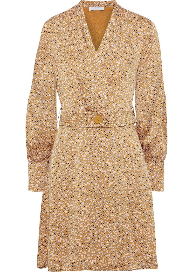 Equipment Woman Fanetta Belted Floral-print Washed-satin Mini Wrap Dress Mustard