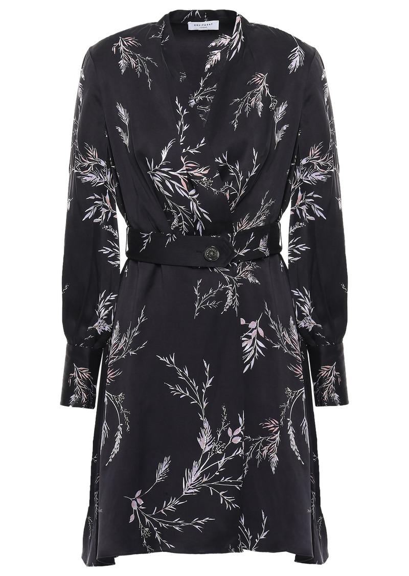 Equipment Woman Fanetta Wrap-effect Floral-print Silk-blend Mini Dress Charcoal