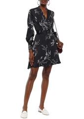 Equipment Woman Fanetta Wrap-effect Floral-print Silk-blend Mini Dress Charcoal
