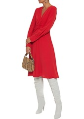 Equipment Woman Faun Twist-front Crepe Dress Tomato Red