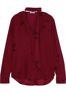 Equipment Woman Fayanna Tie-neck Floral-print Washed-silk Blouse Claret