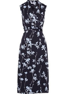 Equipment Woman Femma Wrap-effect Floral-print Chiffon Midi Dress Light Blue