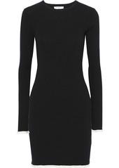 Equipment Woman Fifi Ribbed Cotton And Silk-blend Mini Dress Black