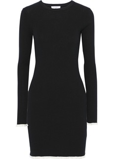 Equipment Woman Fifi Ribbed Cotton And Silk-blend Mini Dress Black