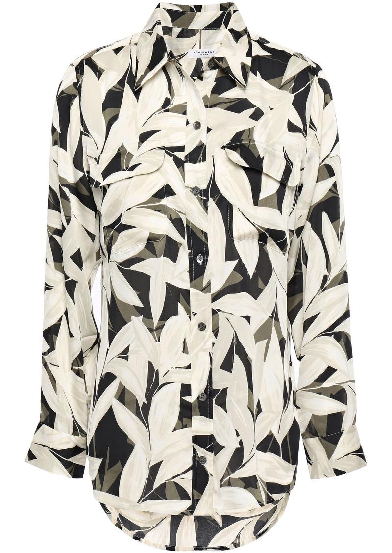 Equipment Woman Floral-print Crepe De Chine Shirt Cream