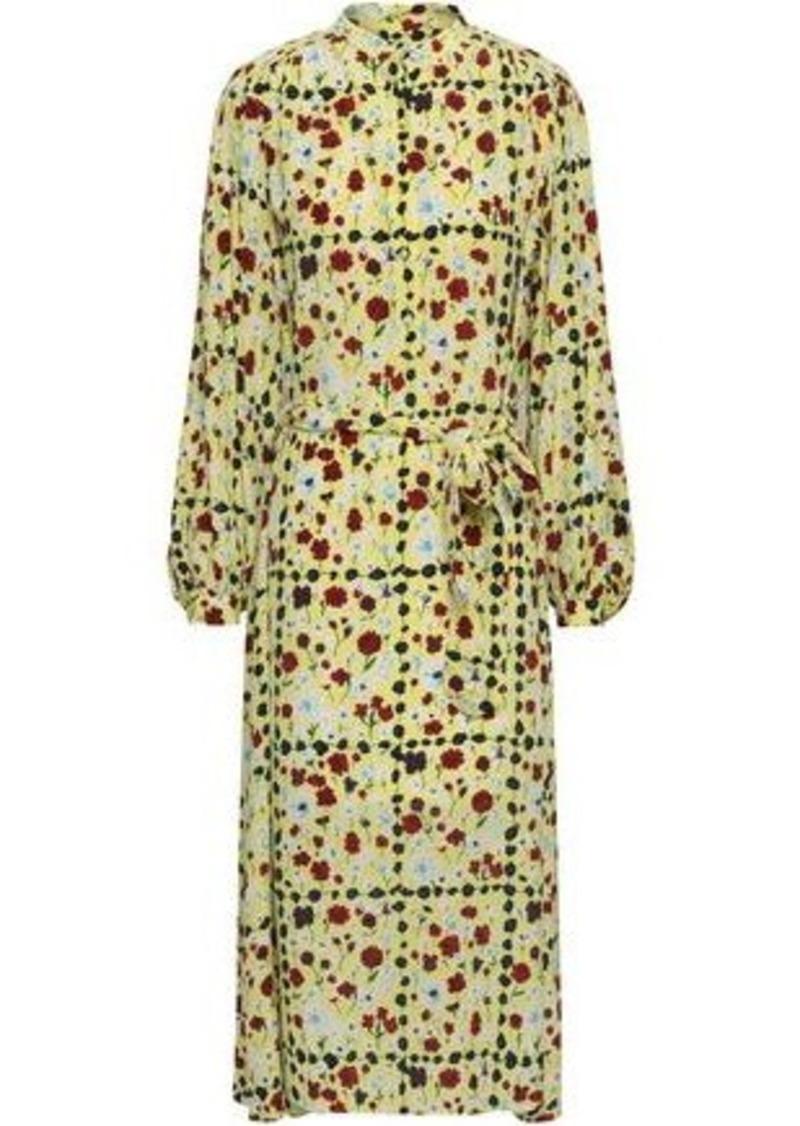 Equipment Woman Floral-print Silk Crepe De Chine Midi Dress Pastel Yellow
