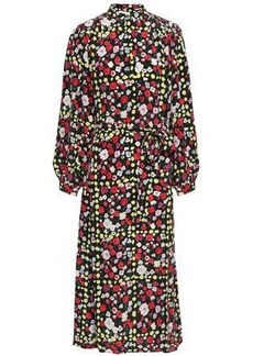 Equipment Woman Floral-print Silk Crepe De Chine Midi Dress Black