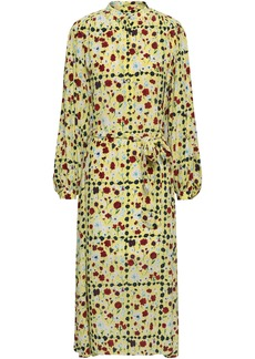 Equipment Woman Floral-print Silk Crepe De Chine Midi Dress Pastel Yellow