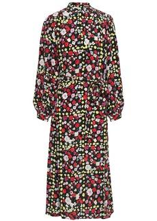 Equipment Woman Floral-print Silk Crepe De Chine Midi Dress Black