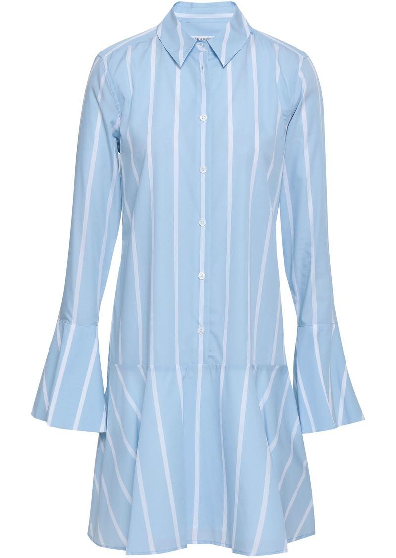 Equipment Woman Fluted Striped Cotton-poplin Mini Shirt Dress Sky Blue