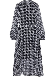 Equipment Woman Francois Belted Houndstooth Silk-georgette Midi Dress Black