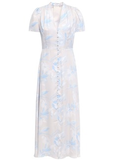 Equipment Woman Gaetan Floral-print Washed Silk-blend Midi Dress Ecru