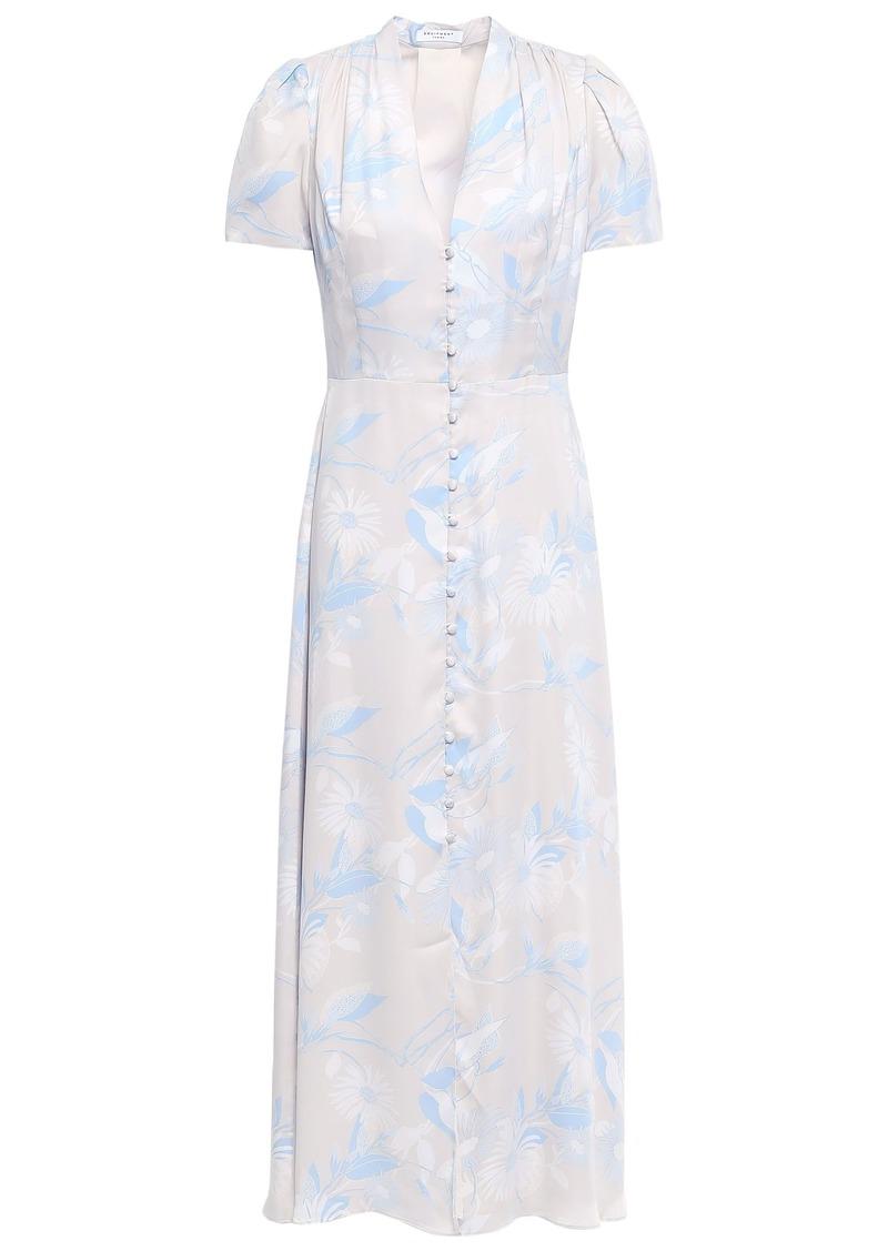 Equipment Woman Gaetan Floral-print Washed Silk-blend Midi Dress Ecru