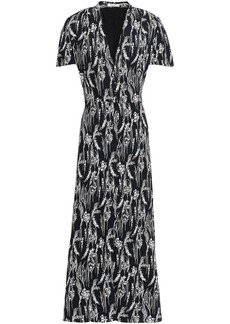 Equipment Woman Gaetan Printed Washed-crepe Maxi Dress Black