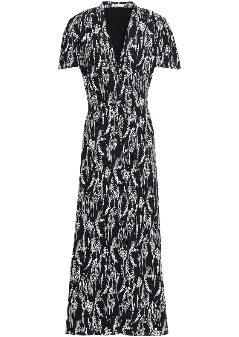 Equipment Woman Gaetan Printed Washed-crepe Maxi Dress Black