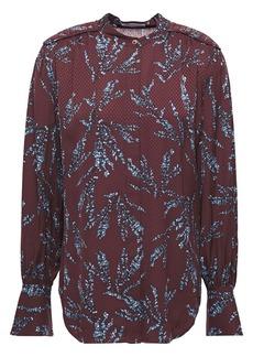 Equipment Woman Garion Gathered Floral-print Satin-jacquard Shirt Burgundy