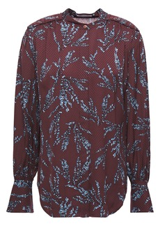 Equipment Woman Garion Gathered Floral-print Satin-jacquard Shirt Burgundy