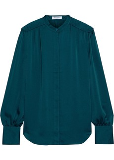 Equipment Woman Garion Pleated Satin Blouse Petrol