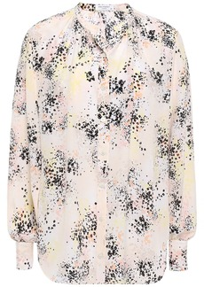 Equipment Woman Gathered Printed Silk-crepe Shirt Ecru
