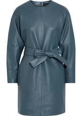 Equipment Woman Gerarda Belted Leather Mini Dress Slate Blue