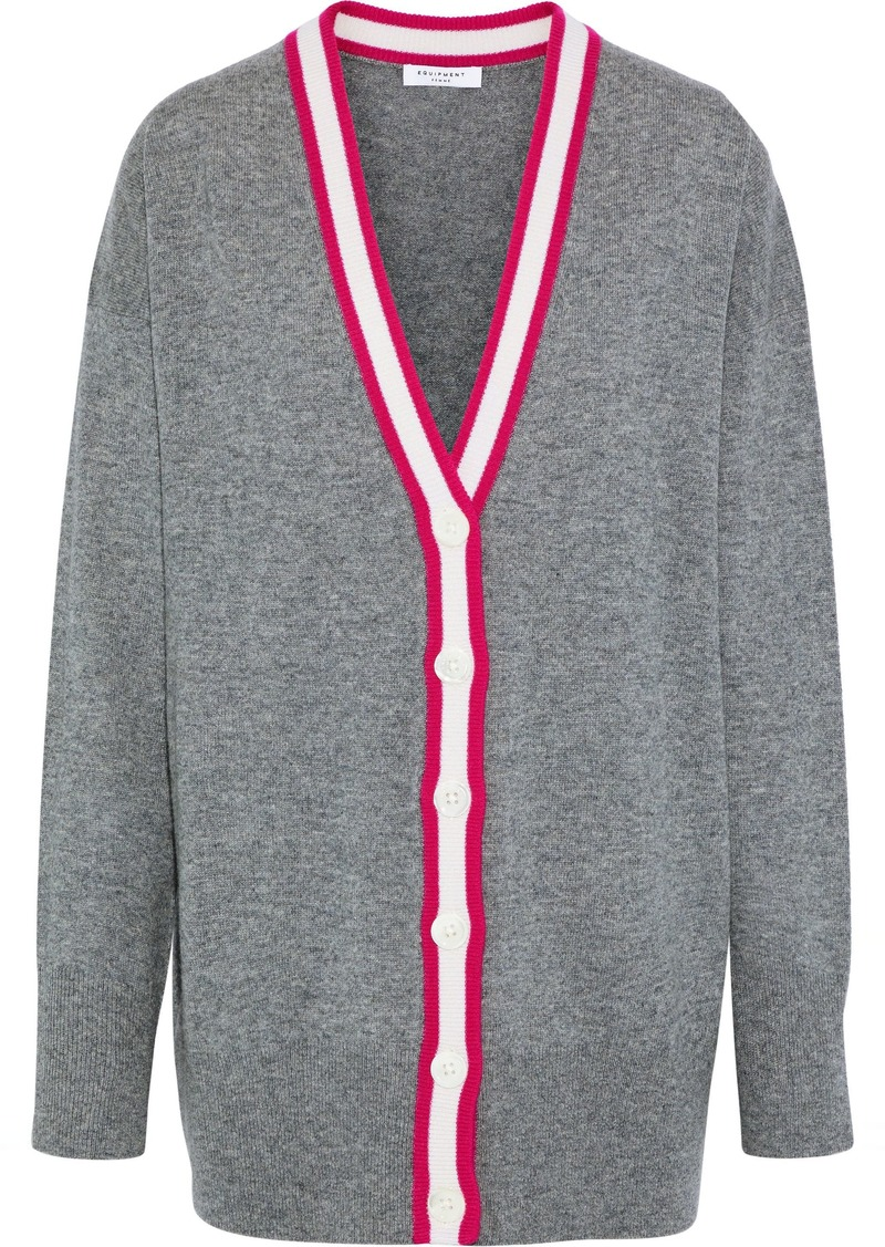 Equipment Woman Gia Striped Mélange Cashmere Cardigan Gray