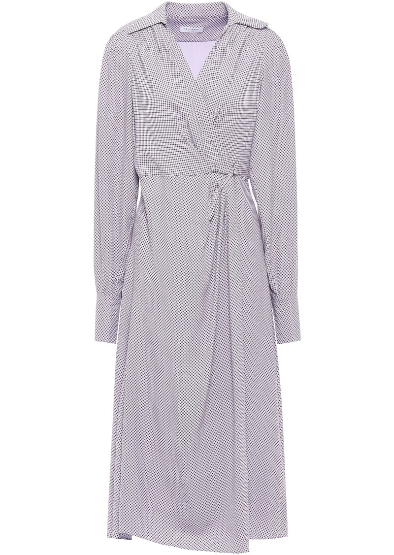 Equipment Woman Gilliane Pleated Checked Crepe Wrap Dress Lilac