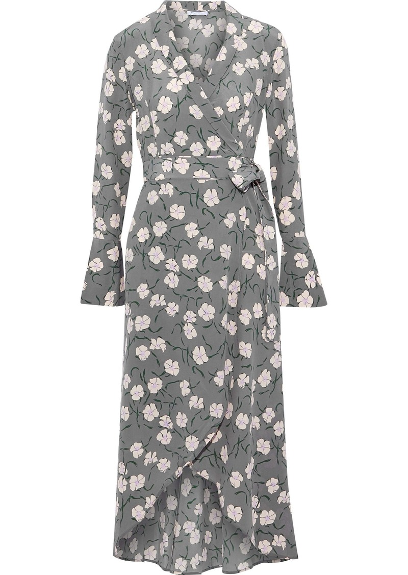 Equipment Woman Gowin Floral-print Washed-silk Midi Wrap Dress Anthracite