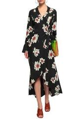 Equipment Woman Gowin Floral-print Washed-silk Midi Wrap Dress Black