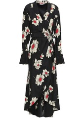 Equipment Woman Gowin Floral-print Washed-silk Midi Wrap Dress Black