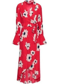 Equipment Woman Gowin Floral-print Washed-silk Midi Wrap Dress Red