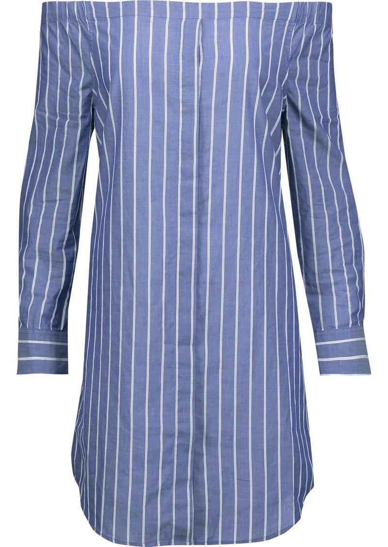 Equipment Woman Gretchen Off-the-shoulder Striped Cotton-broadcloth Mini Dress Azure