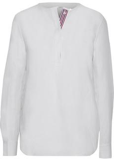 Equipment Woman Grosgrain-trimmed Silk And Linen-blend Shirt Off-white