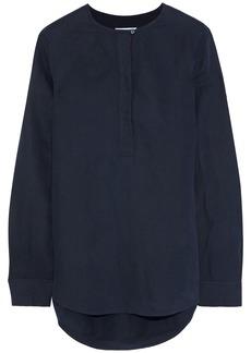 Equipment Woman Grosgrain-trimmed Silk And Linen-blend Shirt Navy