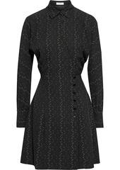 Equipment Woman Harmon Printed Crepe Mini Wrap Dress Black