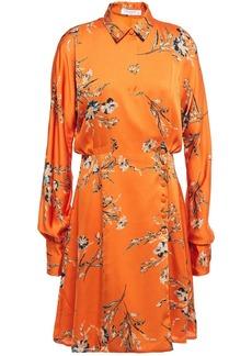 Equipment Woman Harmon Wrap-effect Floral-print Washed-satin Mini Dress Orange