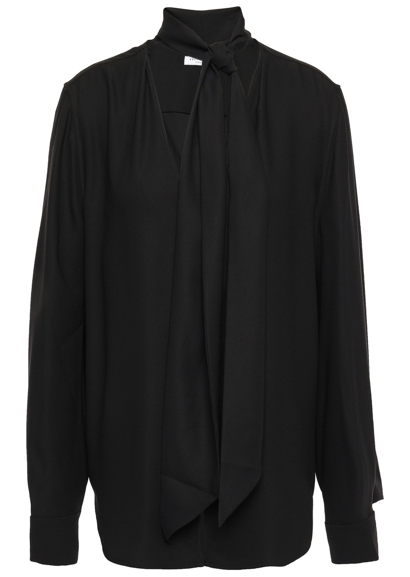 Equipment Woman Haty Tie-neck Washed-crepe Blouse Black