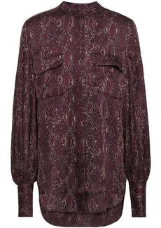 Equipment Woman Helaine Printed Washed-satin Shirt Burgundy