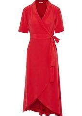 Equipment Woman Imogene Washed-silk Midi Wrap Dress Tomato Red
