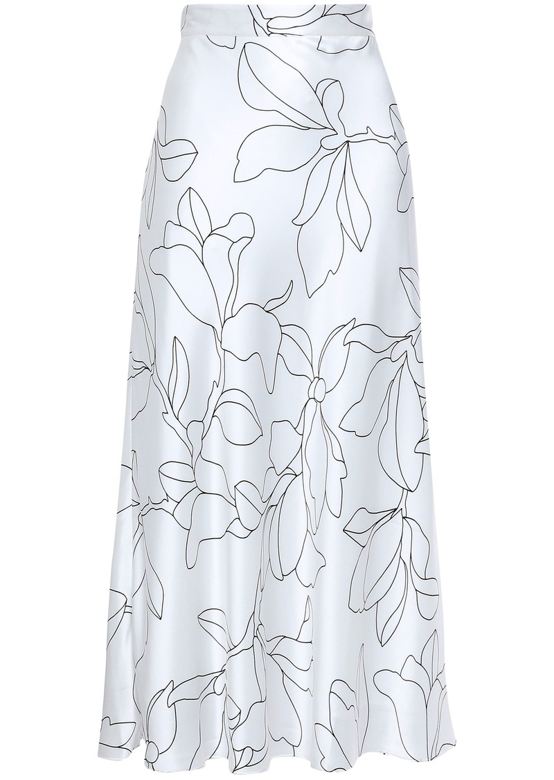 Equipment Woman Iva Floral-print Washed-silk Midi Skirt White