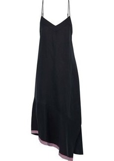 Equipment Woman Jada Asymmetric Grosgrain-trimmed Silk And Linen-blend Midi Dress Midnight Blue