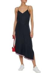 Equipment Woman Jada Asymmetric Grosgrain-trimmed Silk And Linen-blend Midi Dress Midnight Blue